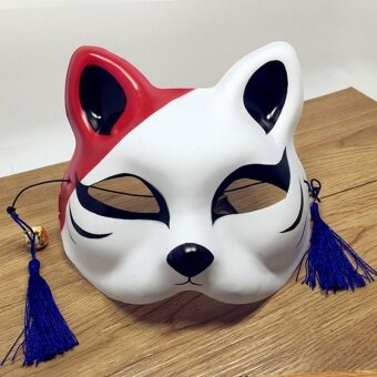 Japanese Fox Half Mask with Tassels and Small Bells Cosplay Maskfor Masquerades Festival Costume Party Show Style:Cat F - intl