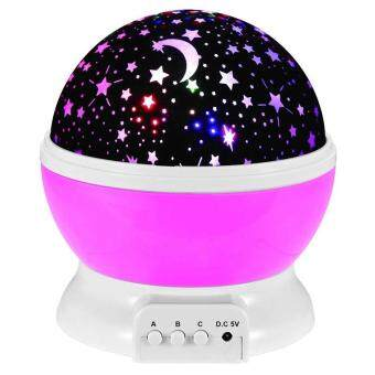 Jiayiqi Baby LED Night Light Moon Star Projector 360 DegreeRotation With USB Cable Pink - intl