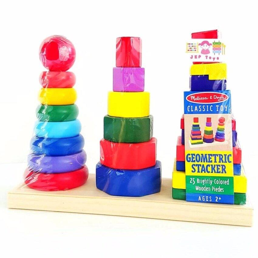 JKP Toys ของเล่นไม้เสริมพัฒนาการ ห่วงเรียงซ้อนเรขาคณิต 3 หลัก image