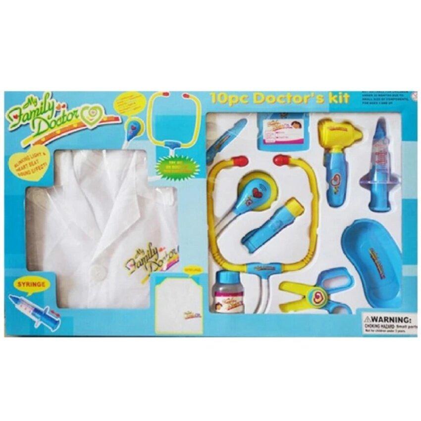 J.TOYS ของเล่น ชุดอุปกรณ์คุณหมอสีฟ้า พร้อมเสื้อกราวน์ (มีไฟ มีเสียง)