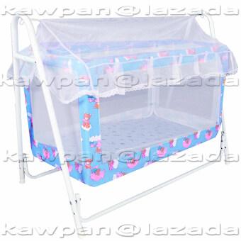 K.baby เปลไกวเด็กอ่อน ลายแฟนซี ขนาด (60 x 102 x 83) + มุ้งกันยุงและมลง (สีฟ้า)