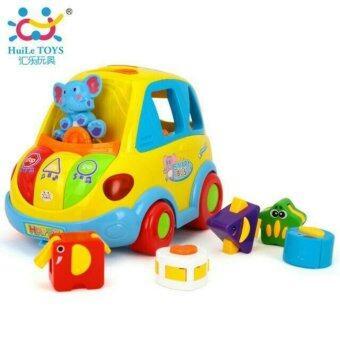 ของเล่นเสริมทักษะ รถสมาร์ทบัสพร้อมบล็อกหยอดดนตรี (Smart Bus By huile toys)