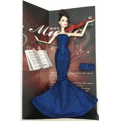 Khonglendee ตุ๊กตาเล่นดนตรี ชุดสีน้ำเงิน