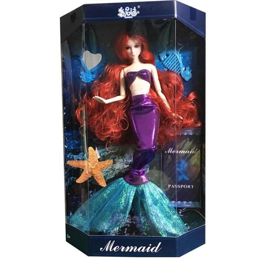 Khonglendee ตุ๊กตา นางเงือกชุดสีม่วง งอแขนและขาได้