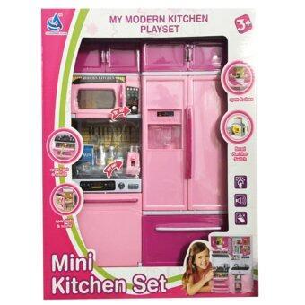 Khonglendee ชุดเซ็ทห้องครัวบาร์บี้ MINI KITCHEN SET สีชมพูอ่อนตัดชมพูเข้ม มีเสียงเละมีไฟ