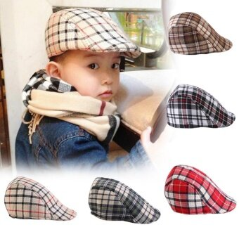 Kids Baby Cotton Plaid Design Berets Newsboy Caps British StyleBoys Girls Sun Hat(Beige Plaid) - intl