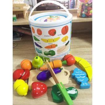 Kids Castle งานไม้ชุดหั่นผักผลไม้เสริมพัฒนาการสำหรับเด็กแบบกระป๋องFruit Cutting Toy