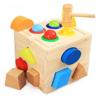 Kids Toys ของเล่นไม้ กล่องกิจกรรมบล็อกหยอดฆ้อนทุบ รูปทรง 4 ด้าน