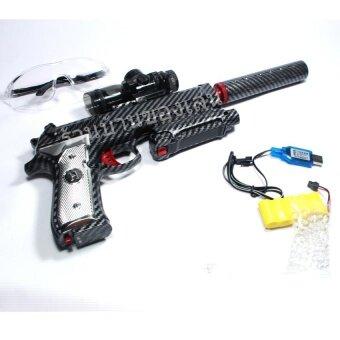KNK TOY ปืนสั้น ปืนไฟฟ้า ลายเคฟล่า ยิงกระสุนเจล พร้อมกระเป๋าอย่างดี HD2B