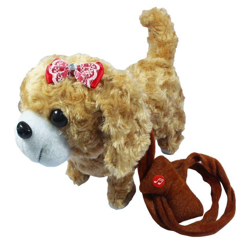KNK TOY ตุ๊กตา สุนัข เต้น จูงเชือก มีเสียง สีน้ำตาลอ่อน PNT002-3