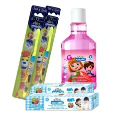 KODOMO แปรงสีฟันเด็ก โคโดโม (ซอฟท์ แอนด์ สลิม) 6-12 ปี 2 ด้าม + ยาสีฟัน โคโดโม แบบเจล กลิ่น บับเบิ้ลฟรุ๊ต 40 กรัม 2 หลอด + โคโดโม น้ำยาบ้วนปาก สำหรับเด็ก กลิ่น สตรอวเบอร์รี่ 250 มล. 1 ขวด