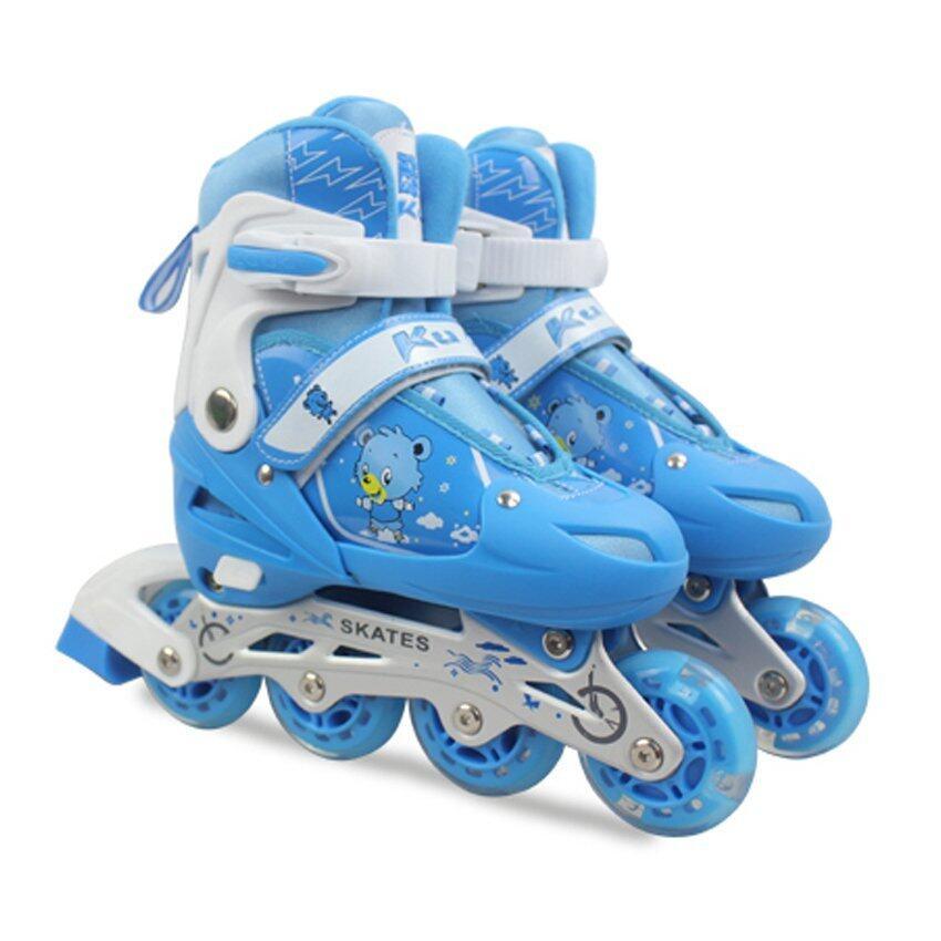 Kuge Kid รองเท้าสเก็ตโรลเลอร์เบลดสำหรับเด็ก พร้อมชุดอุปกรณ์ป้องกันและกระเป๋า รุ่น All-In-One (สีฟ้า) image