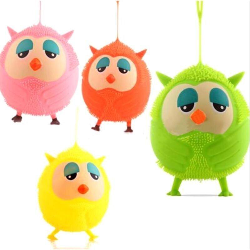 L G store Owl Doll Luminous Flash Elastic Ball Vent Toy Soft Fuzzy Ball(Random Color) - intl image