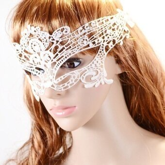 Lady Lace Mask Cutout For Masquerade Party Fancydress Costume White - intl