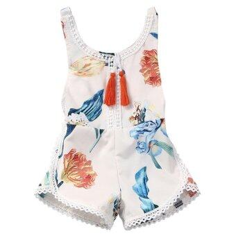 Harga LALANG Flower Tassel Romper Pretty Baby Girls Jumpsuit Outfits(White) - intl