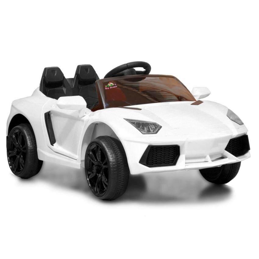 LAMBORGHINI AVENTADOR 12V 2 Motors รถแบตเตอรี่ รถเด็กนั่งไฟฟ้า รถเด็กเล่นบังคับวิทยุ - สีขาว