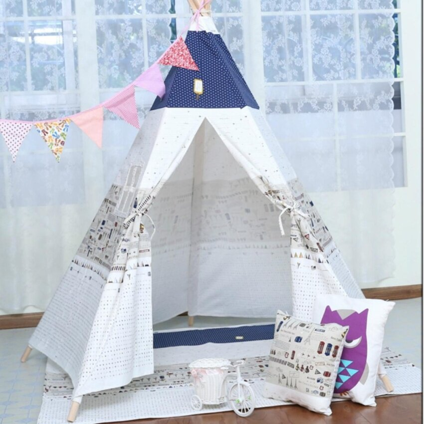 Large Cotton Canvas Kids Boys Girls Plane Pentagon Teepee Outdoor Tent Play Tipi - intl