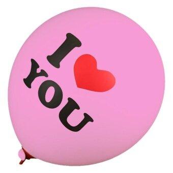Latex Round Balloon Thickening Love Printing Ball Wedding - Pink -intl