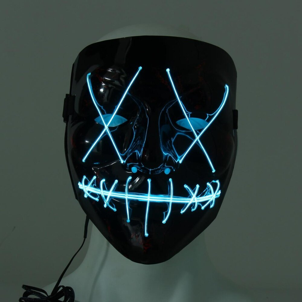 LED Light up Flash EL Wire DJ Party Raver Scary Mask Halloween ...