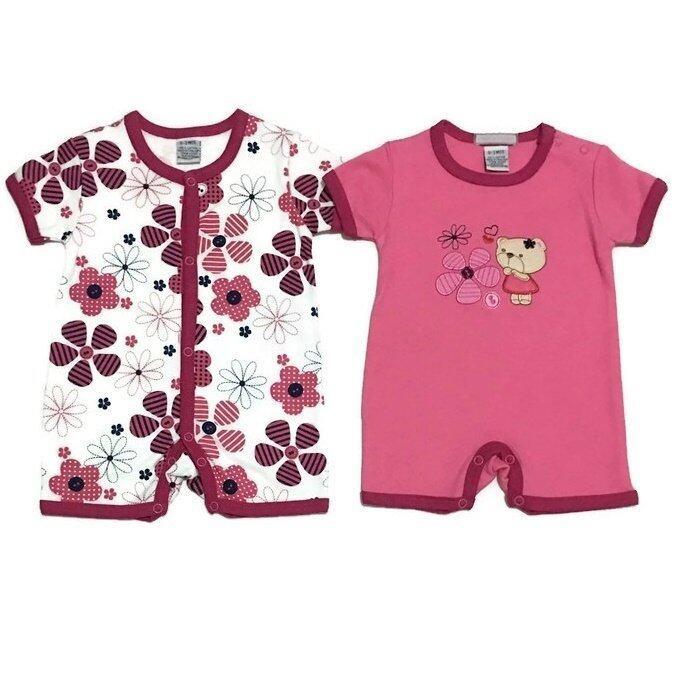 LITTLE BABY M เสื้อผ้าเด็กเล็ก ชุดหมีแพ็คคู่ ลายหมีชมพู+ดอกไม้