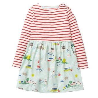 Long Sleeve Dress Girls Clothes Spring Autumn Kids Dresses for Girls Animal Applique Princess Dress Children Jersey Tunic - intl