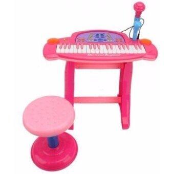 LookmeeShop อิเล็คโทนพร้อมไมค์โครโฟน+เก้าอี้นั่ง สีชมพู