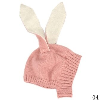 Lovely Baby Toddler Kids Boy Girl Knitted Rabbit Crochet Ear Beanie Warm Winter Hat Cap - Pink - intl