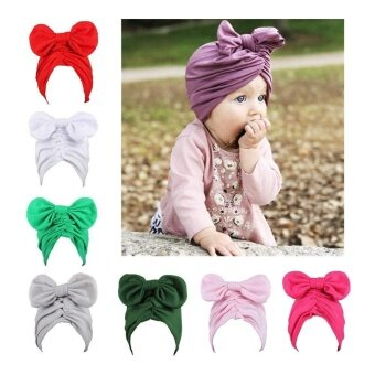 Lovely Infant Baby Kids Boy Girl Bowknot Hat Winter Warm Cat Plain Weave Hat - intl