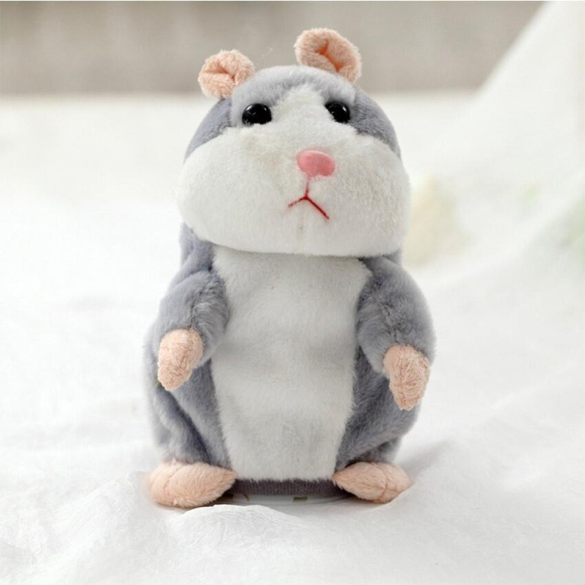 Lovely Talking Plush Hamster Toy, Can Change Voice, Record Sounds, Nod Head or Walk, Early Education for Baby, Different Size for Choice Style:gray and nodding Height:15cm - intl
