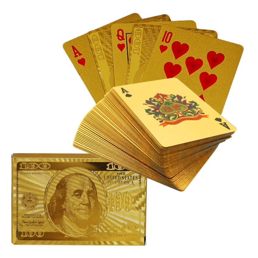 Luxury Waterproof Gold Foil Poker Playing Cards for Xmas Presents Stocking Filler Party Card Games Dollar Style - intl image