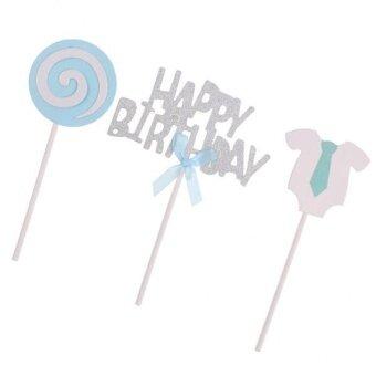 MagiDeal 3x Glitter Silver HAPPY BIRTHDAY Cake Topper PicksLollipop Baby Cloth Blue - intl