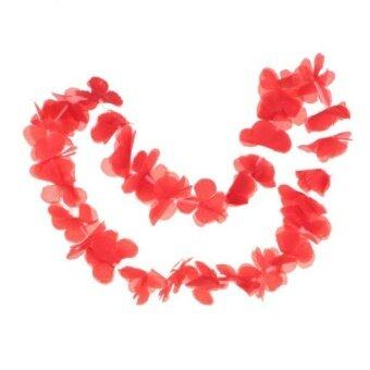 MagiDeal Hawaiian Tropical Luau Flower Leis Garland Necklace BeachParty Decor Red - intl