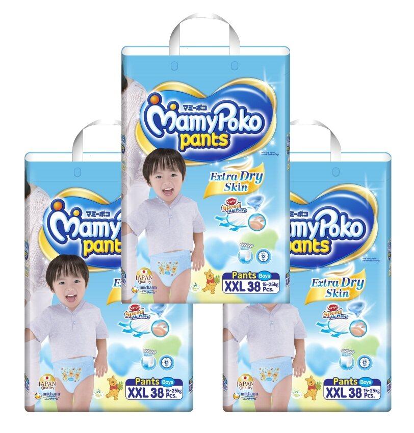 ขายยกลัง! Mamy Poko กางเกงผ้าอ้อม รุ่น Extra Dry Skin ไซส์ XXL แพ็ค 3 รวม 114 ชิ้น (สำหรับเด็กชาย)