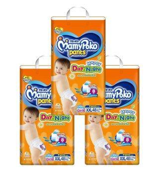ขายยกลัง! Mamy Poko กางเกงผ้าอ้อม รุ่น Happy Day & Night ไซส์XXL 48 ชิ้น 3 แพ็ค (รวม 144 แพ็ค )