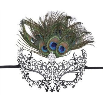 Masquerade Party Hollow-Out Iron Art Mask With Featherdecoration(Black) - intl