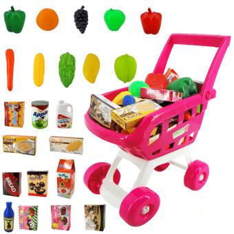 Morestech รถเข็น supermarket พร้อมผัก ผลไม้ ขนม 22 ชิ้น 668-07สีชมพู