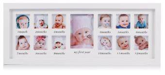 Harga My First Year Baby Photo Frame, Baby Keepsake Frame, Wood KidsPicture Frame, 12 Photo Moments Frame (White) - intl