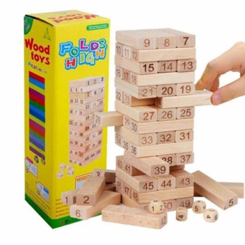 NATCHAVEE FOLDS HIGH บล็อกไม้ตึกถล่ม 52 ชิ้น ชุดตัวต่อตึกถล่ม เสริมสร้างพัฒนาการ และจินตนาการสำหรับเด็ก