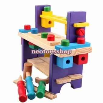 neotoysshop ของเล่นไม้ ชุดโต๊ะเครื่องมือช่างไม้ฆ้อน ไขขวง ฝึกทักษะเครื่องมือช่าง