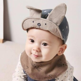 Newborn Baby Girl Boy Visor Baseball Rabbit Ear Dots Cap Beanie Hat- intl