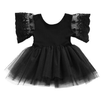 Harga Newborn Kids Baby Girls Party Romper Dress Toddlers Lace SleeveBlack Tulle Skirt 1-2 Years - intl