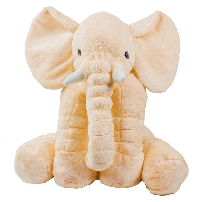 niceEshop เด็กวัยขนาดลูกยัดหมอนช้างผ้าพลัฌเย็นนุ่มเล่นตุ๊กตาเด็กยักษ์รองที่ลูกสาวเป็นของขวัญ สีเหลือง
