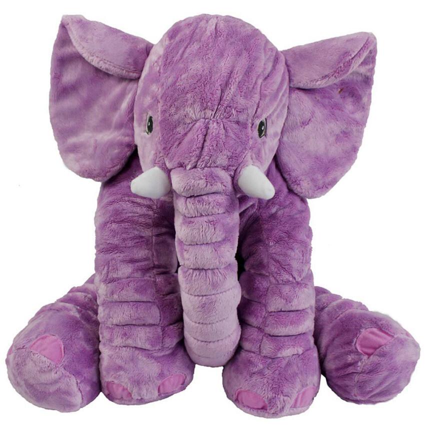 niceEshop เด็กวัยขนาดลูกยัดหมอนช้างผ้าพลัฌเย็นนุ่มเล่นตุ๊กตาเด็กยักษ์รองสาวของขวัญสุด ๆ สีม่วง