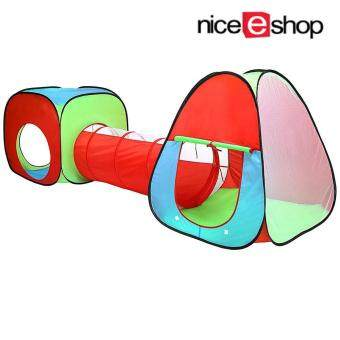 niceEshop Outdoor Indoor Playhouse Tent With Tunnel 3-Piece Play Tent For Kids Great For FunRed Yellow Green