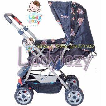 ladylazyรถเข็นเด็ก No.01ปรับได้ 3 ระดับ เข็นได้หน้า-หลัง ลายช้างน้อยสีน้ำเงินแถมฟรี กระเป๋าอเนกประสงค์