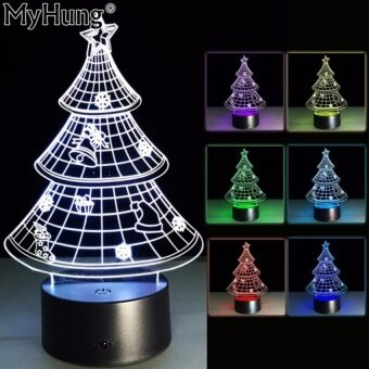 Novelty Christmas Tree 3D LED Night Light Table Lamp ForChristmasGift Decoration Nightlight 7 Colors Baby Room DecorationTouchswitch+remote control - intl