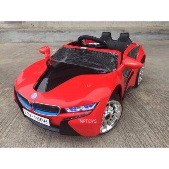 Np Toys รถแบตเตอรี่ รถเด็กนั่ง บังคับวิทยุด้วยรีโมทและขับธรรมดา BMW I8 สีแดง