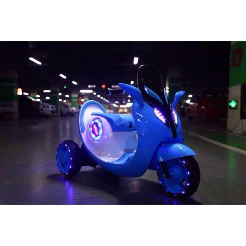 Np Toys รถแบตเตอรี่เด็ก รถเด็กนั่ง มอไซค์ มีไฟที่ล้อ No.808 (สีฟ้า)