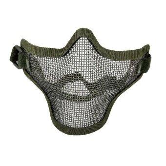 Olive Green Airsoft War Game Half Face Guard Mesh Maskprotector Protective - intl