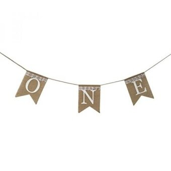 One Banner - First Birthday Party Decorations - 1st Birthday - I Am One - Burlap Lace Highchair Banner Garland for Boy  Girl  Twins - intl